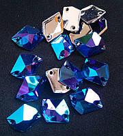 Стрази пришивні Космік (ламаний ромб) 11х14 мм Sapphire AB, синтетичне скло, фото 1