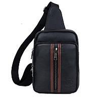 Стильный мужской рюкзак-моношлейка из кожи BULL (Black – черный), фото 1