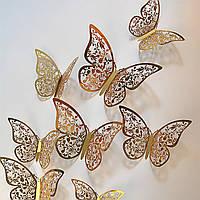 3D бабочки для декора 12 шт, ажурные наклейки - бабочки на стену, бабочки для штор. Золото 3.