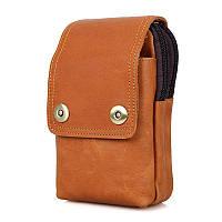 Кожаная сумка (чехол) на пояс из матовой телячьей кожи в коричневых тонах, фото 1