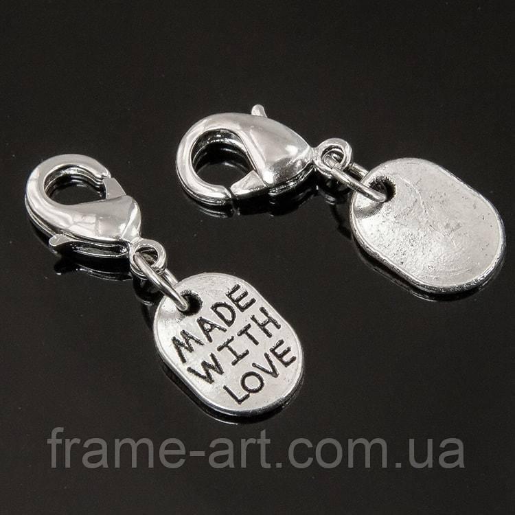 Кулон Made With Love 25мм, Античное Серебро