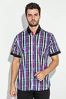 Рубашка мужская с однотонным воротником 50P009 (Черно-малиновый)