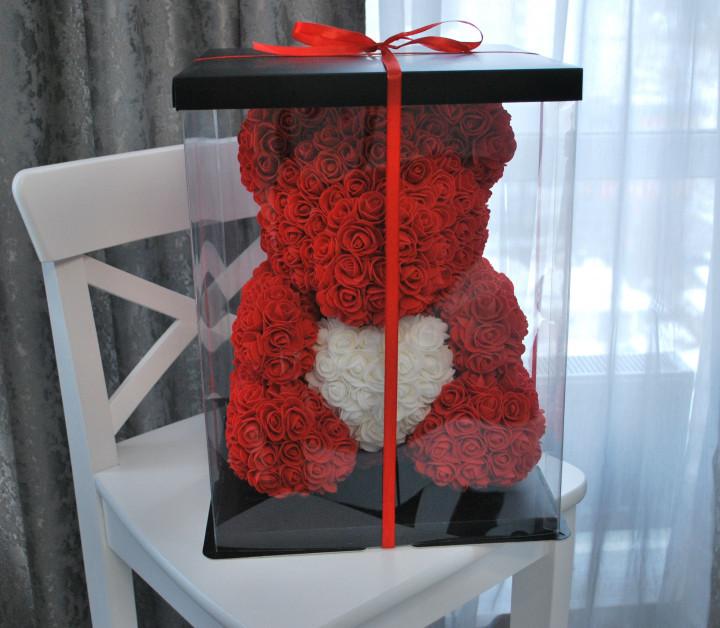 Большой Красный мишка из 3D роз