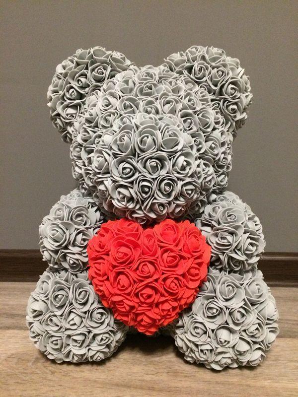 Мишка из роз, 40 см, серый, 3D Teddy Rose ручной работы