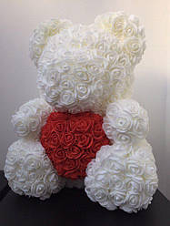 Большой белоснежно белый мишка из 3D роз