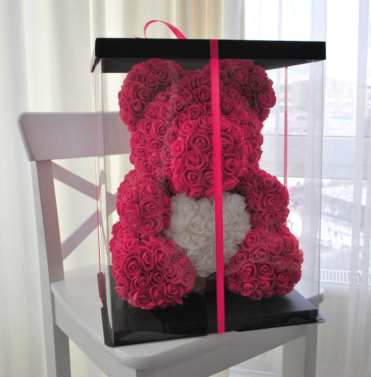 Насыщенно Розовый медведь из 3D роз 45 см.