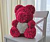 Насыщенно Розовый медведь из 3D роз 45 см., фото 2