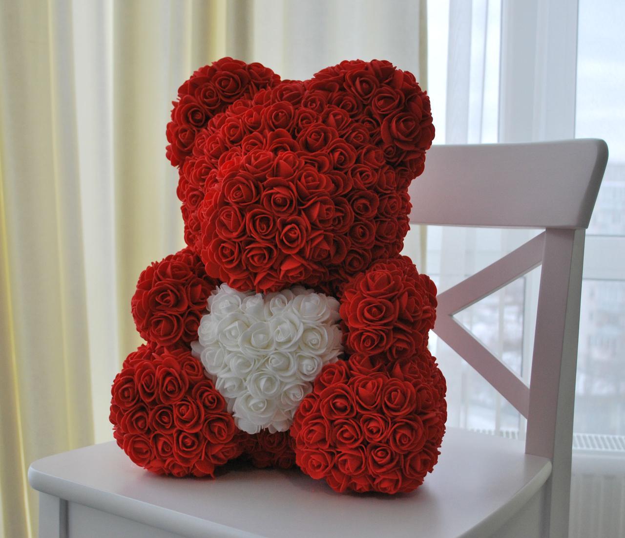 Красный Медведь из 3D роз 45 см.