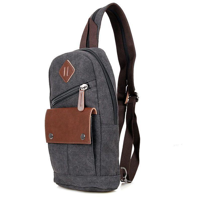 Одношлеечный мужской рюкзак канвас чёрный   9034A