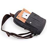 Одношлеечный мужской рюкзак канвас чёрный   9034A, фото 7