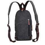 Одношлеечный мужской рюкзак канвас чёрный   9034A, фото 8