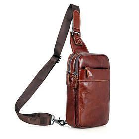 Кожаный мини-рюкзак на одну шлейку   на одной шлейке