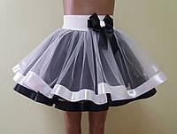 Детская юбка на резинке, черно-белая
