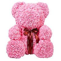 Мишка из розовых 3D роз 25 см в подарочной упаковке медведь Тедди светло розовый