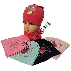"""Набор детский шапка с хомутом одинарный трикотаж для девочек """"Дисней"""" 5-8 лет Украина Оптом"""