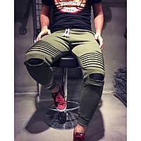 Штаны мужские с кожаными рифлёными вставками на коленях
