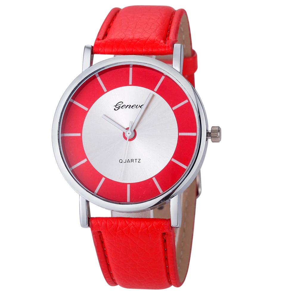 Стильные женские наручные часы c красным ремешком Geneva 24364-2