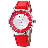 Стильные женские наручные часы c красным ремешком Geneva 24364-2, фото 1