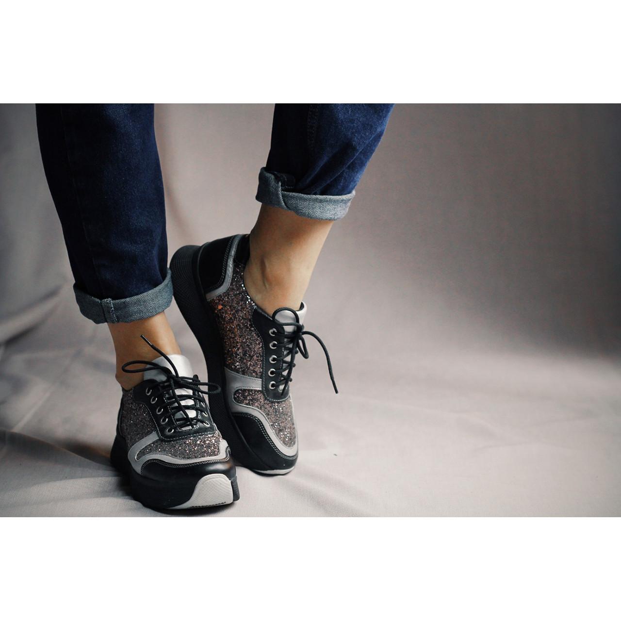 440e733e Блестящие кроссовки на высокой подошве - Интернет магазин женской обуви