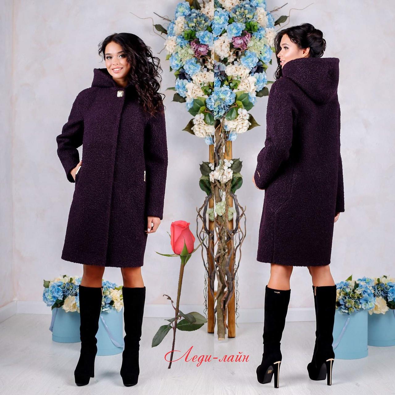 Демисезонное пальто с капюшоном  F  77981  Фиолетовый  Тон 43