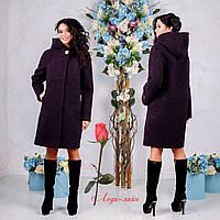 Демисезонное пальто с капюшоном  F  77981  Фиолетовый  Тон 43, фото 1