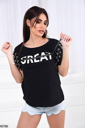 ЖЕНСКАЯ футболка с люверсами Размер 42-44,44-46,46-48, фото 2