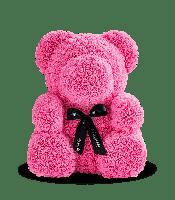 Мишка из розовых 3D роз 25 см в подарочной упаковке медведь Тедди розовый