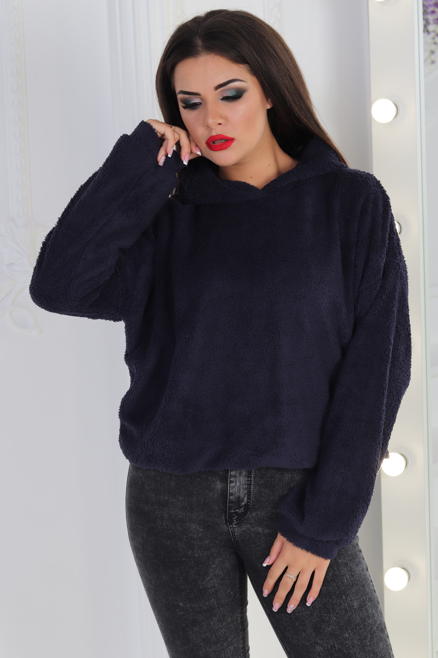 Уютный укороченный теплый свитер батник с капюшоном из меховой ткани, норма и батал большие размеры