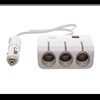 Автомобільний розгалужувач трійник 3+2 USB 1506A / 1505A, автомобільний трійник сплітер, фото 1