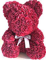 Мишка из алых 3D роз 25 см в подарочной упаковке медведь Тедди бордовый