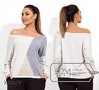 Ангоровая женская кофта со спадающим плечом в больших размерах 1151364 9cbb2b97acc1c