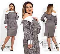 Трикотажное платье в клетку с открытым плечом в больших размерах 1151368 7eebf9dd4e717