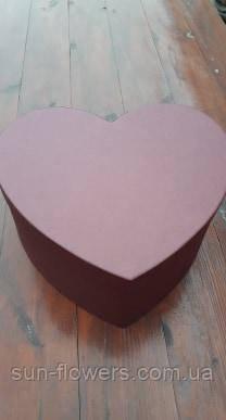 Коробка картонная в форме сердца(35см марсала)