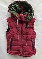 Жилетка подростковаядемисезонная для мальчика,8-12 лет, красная с зеленым, фото 1