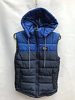 Жилетка подростковаядемисезонная для мальчика,8-12 лет, темно-синяя с синим, фото 1