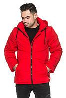 Мужская удлиненная куртка деми со съёмным капюшоном на кулиске 48-56 размера красная