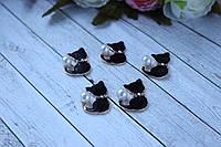 """Металлическая фурнитура """"Кошечка эмаль со стразами и жемчугом, 2 Х 3 см, черного цвета, фото 1"""