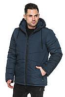 Мужская удлиненная куртка деми со съёмным капюшоном на кулиске 48-56 размера синяя