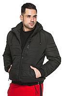 Мужская короткая куртка деми со съёмным капюшоном на кулиске 48-56 размера черная