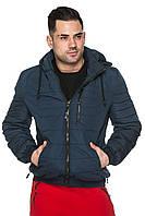 Мужская короткая куртка деми со съёмным капюшоном на кулиске 48-56 размера синяя