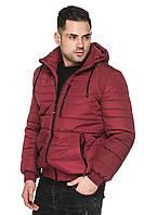 Мужская короткая куртка деми со съёмным капюшоном на кулиске 48-56 размера бордовая