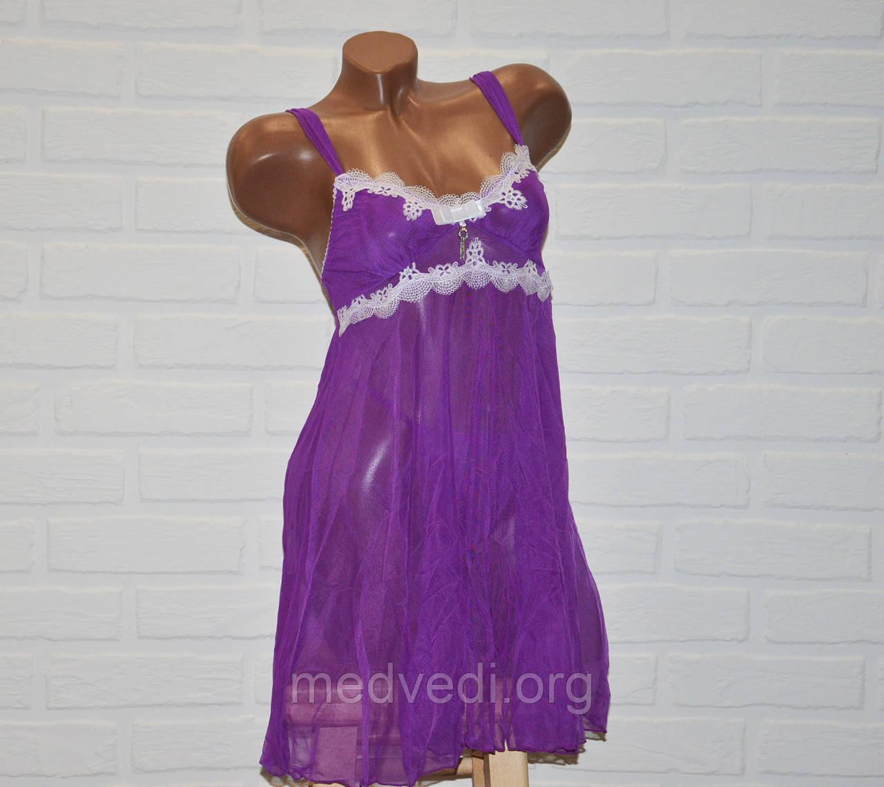 Фиолетовый комплект эротического женского белья, пеньюар и трусы стринги, размер S