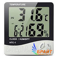 Цифровий термометр-гігрометр HTC-1, з годинником і будильником