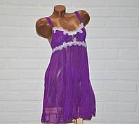 Фиолетовый комплект сексуального женского белья, пеньюар и трусы стринги, размер M