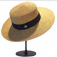 """Шляпа женская """"Гуччи"""" с пчелой кофейного цвета"""