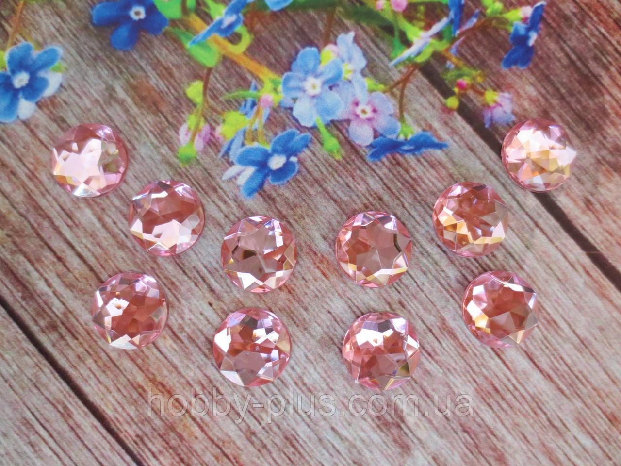 Камень клеевой круглой формы, d 14 мм, цвет розовый, 10 шт