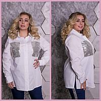 Женская рубашка в больших размерах с карманами на груди и пайеткой 10BR1385 810d96f1a9e5d
