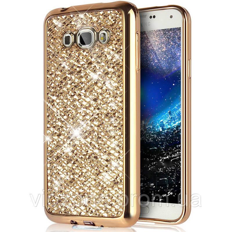 Чехол/Бампер блеск с кристаллами для Samsung J5 2016 (J510) Золотой (Силиконовый)