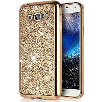 Чехол/Бампер блеск с кристаллами для Samsung J7 2016 (J710) Золотой (Силиконовый)