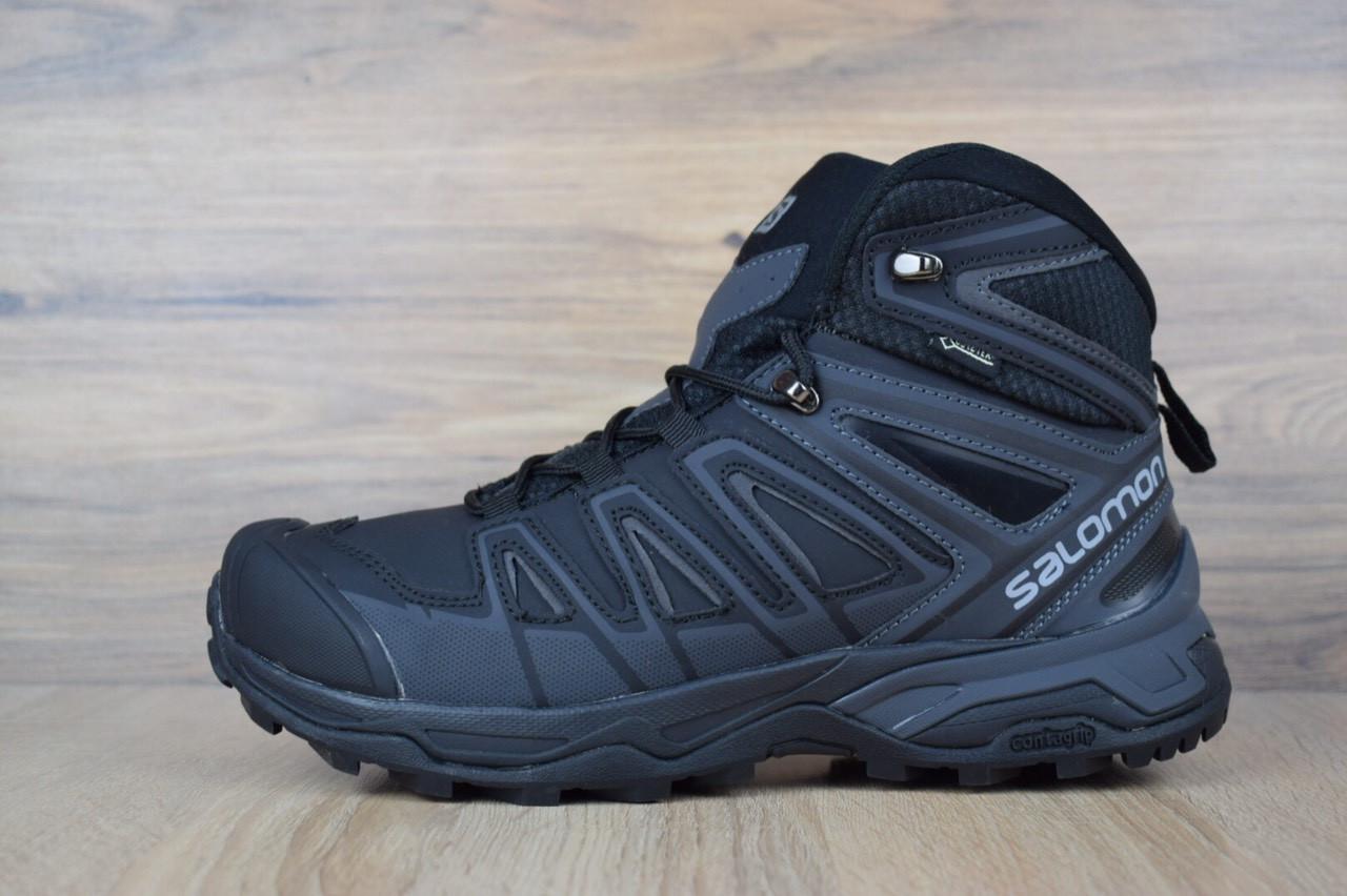 c8b431e777fc Мужские зимние кроссовки в стиле Salomon X ULTRA черные/серая надпись/мех -  Super